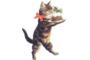 Die Cut Cat with Christmas Pudding