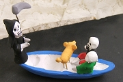 Skeleton Couple and Dog in Canoe with the Grim Reaper - Second Quality