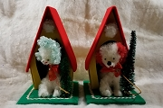 Vintage Christmas Decorated Doghouse with Poodle - Your Choice of Accent Color