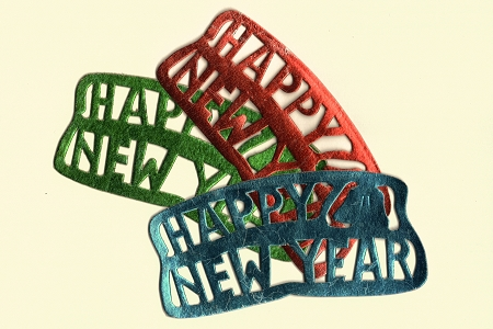 Vintage Foiled Happy New Year Die Cut Dresden in 3 Colors