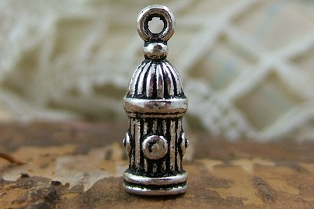 Silver Fire Hydrant Charm or End Cap