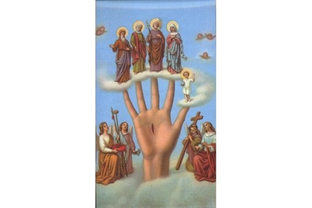Most Powerful Hand (Mano Poderosa) Holy Cards (English) - Package of 5