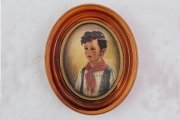 Lovely Vintage Print of a Young Boy (Chiro) in Wooden or Chalk Oval Frame