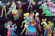 Paseo de los Muertos Fabric with Black Background by the Half Yard