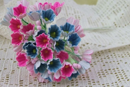 Vintage May Melee Bouquet - Bright Blue and Pink Bouquet of Paper Forget-Me-Nots