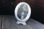 Vintage Aluminum Frame with Holy Family Print