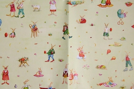 Two Folded Sheets of Bunny Family Fine Gift Wrap