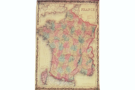 ROLLED Decorative Gift Wrap Paper - Old French Map