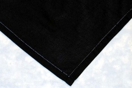 Black Cotton Hand-Hemstitched Handkerchief