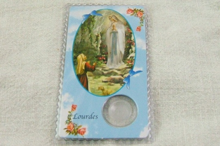 Laminated Our Lady of Lourdes & Saint Bernadette Holy Card with Healing Lourdes Water