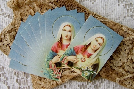 Vintage Mini Gilded Holy Cards of the Blessed Virgin Mary - Package of 10