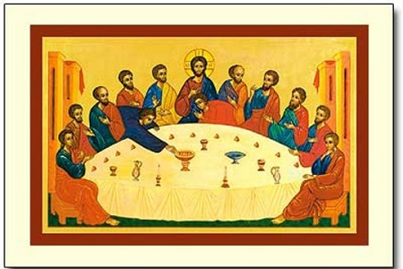 The Secret of the Meal (Last Supper) Icon Style Holy Cards - Pkg of 5