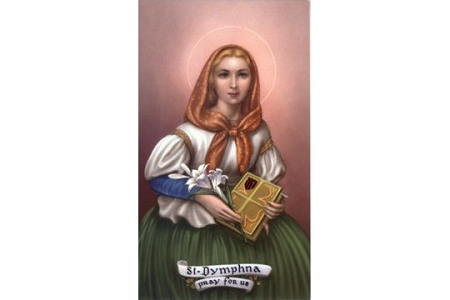 St Dymphna Holy Cards - Patron of Family Problems & Mental Illness - Package of 5
