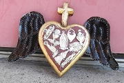 Small Sacred Heart with Wings and Milagros