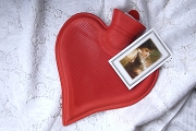 Heart-Shaped Hot Water Bottle with Fabric Sleeve
