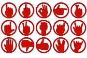 Red Iconoclasps Hand Signals Paper Clips