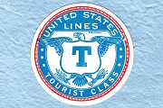 Vintage United States Lines Tourist Class Gummed Luggage Label (Turquoise)