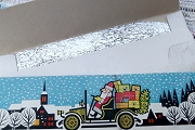 Vintage Silver Lametta in Cardboard Folder featuring Santa Driving a Truck Full of Toys