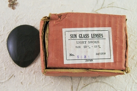 Vintage Box of 36 LIGHT SMOKE Teardrop Glass Lenses