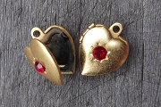 Vintage Golden Heart Locket with a Ruby Red Crystal