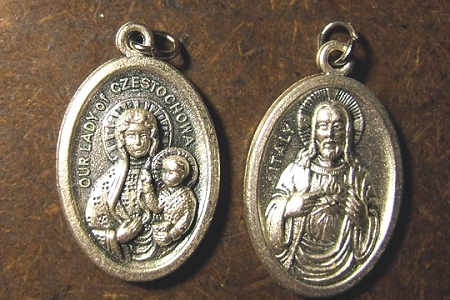 Oxidized Silvery Metal Medal featuring Our Lady of Czestochowa and the Sacred Heart of Jesus