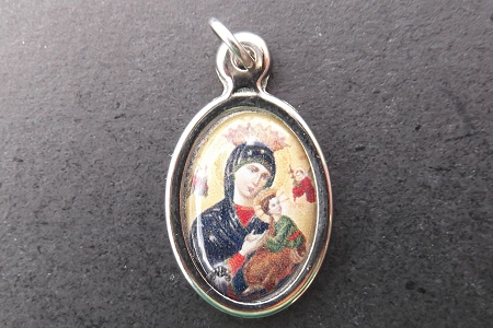 Our Lady of Perpetual Help Color Medal in Silvery Setting