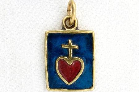 Sacred Heart of Jesus Solid Bronze & True Enamel Inlay Pendant
