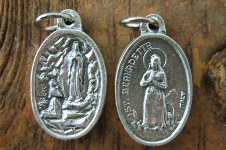 Saint Bernadette & Our Lady of Lourdes Oxidized Medal