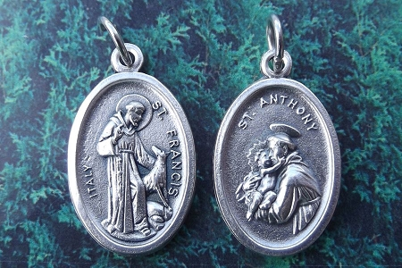 Reversible St. Francis and the Wolf and St. Anthony Reversable Medal