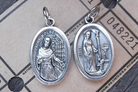 Reversible St Maximilian Kolbe Medal - Patron Saint of Addictions