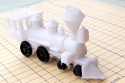 Vintage White Miniature Locomotive Engine