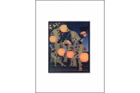 The Lantern Bearers Frameable Note Card - Matted Print by Maxfield Parrish