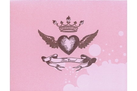 Shiny Pink LOVE Eternal Fine Letterpress Note Card