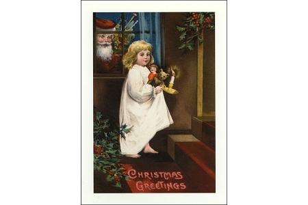 Christmas Greetings Note Card Featuring Santa Peering In a Window