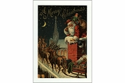 Rooftop Santa Note Card