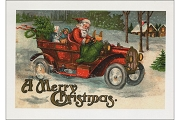 A Merry Christmas Note Card Featuring Santa in an Old-Timey Car