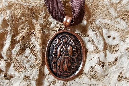Handmade Copper Our Lady of Guadalupe Necklace