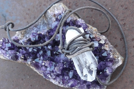 Large Handmade Natural Quartz Crystal Necklace on Primitive Leather Cord