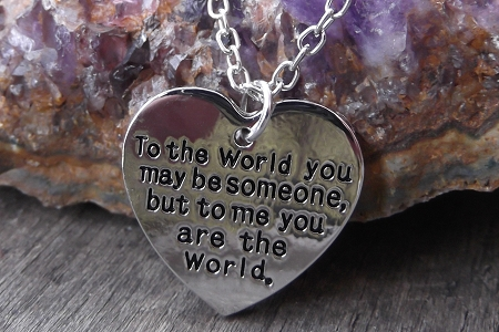 Bright Silvery You Are the World Heart Charm Necklace