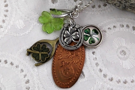 My Lucky Penny Necklace on Sterling Silver Chain with Lots of Good Luck Tokens