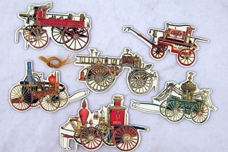 6 Old-Time Fire Engine Ornaments / Tags