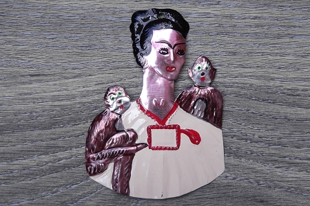 Hand Made and Hand Painted Tin Frida with Monkeys Ornament