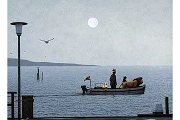 Art Postcard: Die Abfahrt (The Departure) Travelers by the Moon in a Boat