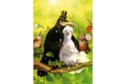 Art Postcard from Rudi Hurzlmeier: Glückwunsch! - Felicitations - Congratulations (Wedding Couple - Crow & Dove)