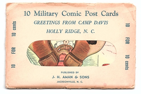 Unopened Military Comic Post Card Set - Greetings From Camp Davis