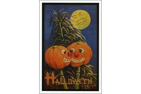 Fine Art Postcard - Moon And Pumpkins