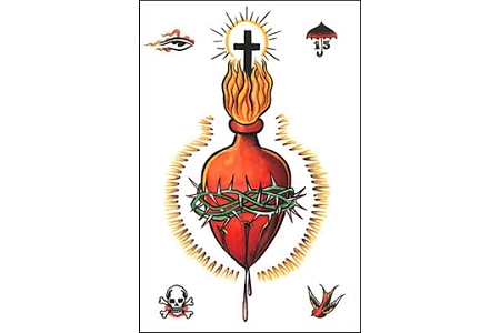 Art Postcard - Sacred Heart Tattoo Flash