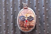 Vitreous Enamel Pendant - Buddha's Eyes with AMBER Written Background