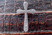 Antiqued Silver Cross Pendant Adorned with Pebbled Antiqued Silver Beads