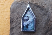 Handmade Birdhouse Glass & Silver Soldered Pendant - Nest & Home